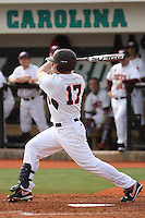 Jake Atwell #17 of the Virginia Tech Hokies at bat during a game against the University of Indiana Hoosiers  at Watson Stadium at Vrooman Field in Conway, South Carolina on February 18, 2011. Photo by Robert Gurganus/Four Seam Images