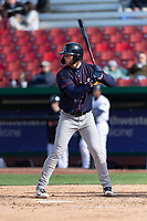 Cedar Rapids Kernels first baseman Gabe Snyder (24) during a Midwest League game against the Kane County Cougars at Northwestern Medicine Field on April 28, 2019 in Geneva, Illinois. Kane County defeated Cedar Rapids 3-2 in game one of a doubleheader. (Zachary Lucy/Four Seam Images)