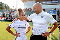 CARY, NC - SEPTEMBER 12: Sophia Smith #9 of the Portland Thorns FC talks with assistant coach Sean Nahas of the North Carolina Courage after a game between Portland Thorns FC and North Carolina Courage at Sahlen's Stadium at WakeMed Soccer Park on September 12, 2021 in Cary, North Carolina.