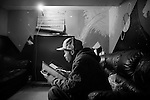 BROOKLYN -- FEBRUARY 10, 2009:  Rapper Brooklyn Chase works on some lyrics before a recording session in a Flatbush recording studio on February 10, 2009 in Brooklyn.  (PHOTOGRAPH BY MICHAEL NAGLE).
