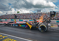 Oct 6, 2018; Ennis, TX, USA; NHRA top fuel driver Cory McClenathan during qualifying for the Fall Nationals at the Texas Motorplex. Mandatory Credit: Mark J. Rebilas-USA TODAY Sports
