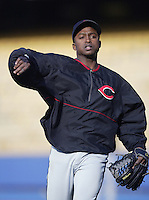 Wilton Guerrero of the Cincinnati Reds throws before a 2002 MLB season game against the Los Angeles Dodgers at Dodger Stadium, in Los Angeles, California. (Larry Goren/Four Seam Images)