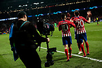 Atletico de Madrid's Angel Martin Correa (L) and Juanfran Torres (R) celebrate goal during UEFA Champions League match, Round of 16, 1st leg between Atletico de Madrid and Juventus at Wanda Metropolitano Stadium in Madrid, Spain. February 20, 2019. (ALTERPHOTOS/A. Perez Meca)