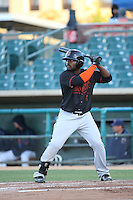 Chantz Mack (4) of the Bakersfield Blaze bats against the Lancaster JetHawks at The Hanger on April 28, 2016 in Lancaster, California. Lancaster defeated Bakersfield, 5-4. (Larry Goren/Four Seam Images)
