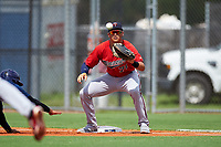 GCL Twins first baseman Benjamin Rodriguez (71) waits to receive a pick off throw during the first game of a doubleheader against the GCL Rays on July 18, 2017 at Charlotte Sports Park in Port Charlotte, Florida.  GCL Twins defeated the GCL Rays 11-5 in a continuation of a game that was suspended on July 17th at CenturyLink Sports Complex in Fort Myers, Florida due to inclement weather.  (Mike Janes/Four Seam Images)