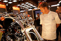 Chefs Gordon Ramsay checks out a Harley Davidson at the NEC Bike Show