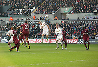 Pictured: Swansea's Garry Monk with a first half chance<br />