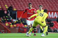Mason Greenwood of Manchester United takes on Brentford's Shandon Baptiste during Manchester United vs Brentford, Friendly Match Football at Old Trafford on 28th July 2021