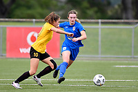 Toni Power of Southern competes for the ball with Tupelo Dugan of Capital during the Handa Women's Premiership - Capital Football v Southern United at Petone Memorial Park, Wellington on Saturday 7 November 2020.<br /> Copyright photo: Masanori Udagawa /  www.photosport.nz