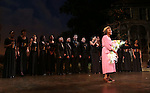 """Cicely Tyson with her students during """"The Trip To Bountiful"""" Final Performance Curtain Call & Celebration at The Stephen Sondheim Theatre on October 9, 2013 in New York City."""