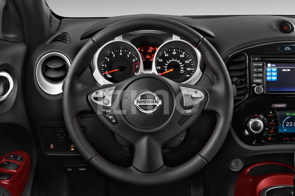 Car pictures of steering wheel view of a 2015 Nissan Juke Acenta 5 Door Suv Steering Wheel