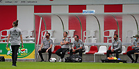 Head coach Ives Serneels of Belgium , assistant coach Kris Van Der Haegen of Belgium, U23 coach Thomas Janssens of Belgium, U23 assistant coach Heleen Jacques of Belgium pictured before a friendly female soccer game between the national teams of Luxemburg and Belgium , called the Red Flames  in a preparation towards the qualification for the  FIFA Women's World Cup , on saturday 12 th of June 2021  in Wiltz , Luxemburg . PHOTO SPORTPIX BE   SPP   SEVIL OKTEM