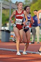 04 April 2008: Stanford Cardinal Lindsay Allen runs a heat of the 5000 meter run during the Stanford Invitational at the Cobb Track and Angell Field in Stanford, CA.
