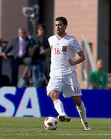 Spain midfielder Sergio Busquets (16) looks to pass. In a friendly match, Spain defeated USA, 4-0, at Gillette Stadium on June 4, 2011.