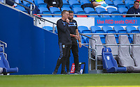 12th September 2020; Cardiff City Stadium, Cardiff, Glamorgan, Wales; English Championship Football, Cardiff City versus Sheffield Wednesday; Garry Monk manager of Sheffield Wednesday speaks with assistant James Beattie