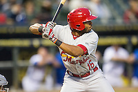 Memphis Redbirds first baseman Xavier Scruggs (16) ACTION during Pacific Coast League game against the Round Rock Express on April 21, 2015 at the Dell Diamond in Round Rock, Texas. Round Rock defeated Memphis 2-1. (Andrew Woolley/Four Seam Images)