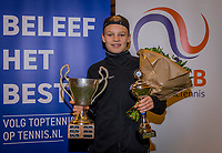 Wateringen, The Netherlands, December 8,  2019, De Rhijenhof , NOJK juniors 14 and18 years, Finals 14 years: Winner boys 14 years Abel Forger (NED)<br /> Photo: www.tennisimages.com/Henk Koster