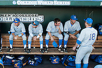 UCLA bench before their contest against the North Carolina State Wolfpack in Game 8 of the 2013 Men's College World Series on June 18, 2013 at TD Ameritrade Park in Omaha, Nebraska. The Bruins defeated the Wolfpack 2-1, eliminating North Carolina State from the tournament. (Andrew Woolley/Four Seam Images)