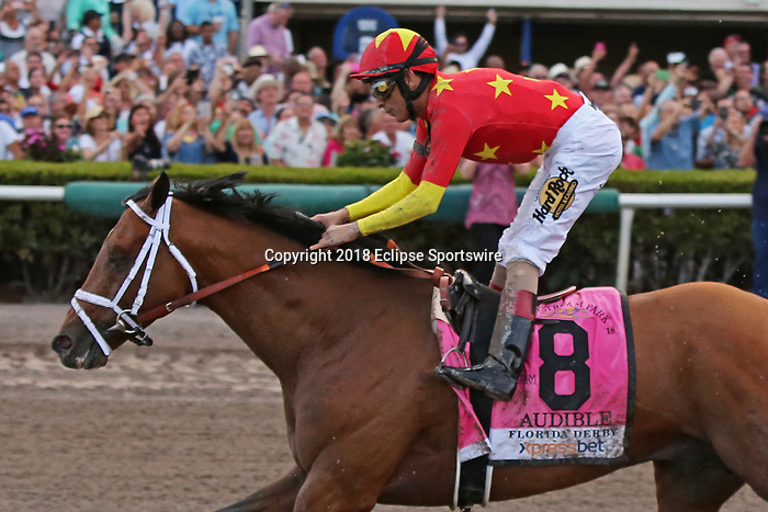 HALLANDALE BEACH, FL - March 31:   #8 Audible with jockey John Velazquez on board, wins the Xpressbet Florida Derby at Gulfstream Park on March 31, 2018 in Hallandale Beach, Florida. (Photo by Liz Lamont/Eclipse Sportswire/Getty Images)