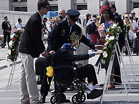 Washington, DC - June 6, 2019: World War II veterans and the Friends of World War II Memorial commemorate the 75th anniversary of D-Day and the Battle of Normandy at the World War II Memorial in Washington D.C,. June 6, 2019.  (Photo by Lenin Nolly/Media Images International)