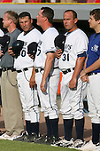 June 14th 2008:  Benny Distefano, Mark Johnson and Joe DePastino of the West Michigan Whitecaps, Class-A affiliate of the Detroit Tigers, during a game at Fifth Third Ballpark in Comstock Park, MI.  Photo by:  Mike Janes/Four Seam Images