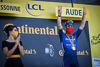 Mark Cavendish (GBR/Deceuninck-Quick Step) wins his 34th TdF stage and equals the historic record of Eddy Merckx <br /> <br /> Stage 13 from Nîmes to Carcassonne (219.9km)<br /> 108th Tour de France 2021 (2.UWT)<br /> <br /> ©kramon