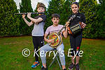 The Doyle family, Philip, Avril and Peter Doyle at home in Tralee, who are members of the Lixnaw ComhaltasCeoltóirí Éireann doing master classes on Zoom on Sunday.