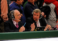13 February 2011: Radio sportscasters George Commo and Jack Healey broadcast a University of Vermont Catamount basketball game against the Binghamton University Bearcats at Patrick Gymnasium in Burlington, Vermont. The Catamounts came from behind to defeat the Bearcats 60-51 in their America East matchup. The Cats took part in the National Pink Zone Breast Cancer Awareness Program by wearing special white jerseys with pink trim. The jerseys were auctioned off following the game with proceeds going to the Vermont Cancer Center. Mandatory Credit: Ed Wolfstein Photo