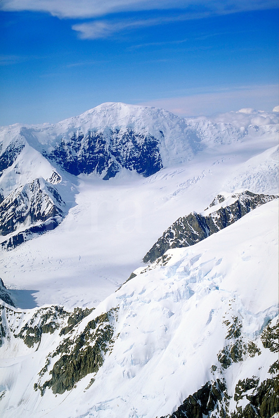 Aerial view of mountains & snow, Denali National Park. Alaska United States Denali National Park.