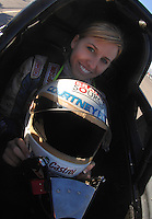 """Jan 20, 2007; Las Vegas, NV, USA; NHRA Super Comp driver Courtney Force during preseason testing at """"The Strip"""" at Las Vegas Motor Speedway in Las Vegas, NV. Mandatory Credit: Mark J. Rebilas"""