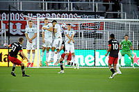 WASHINGTON, DC - MAY 13: Julian Gressel #31 of D.C. United takes a free kick during a game between Chicago Fire FC and D.C. United at Audi FIeld on May 13, 2021 in Washington, DC.