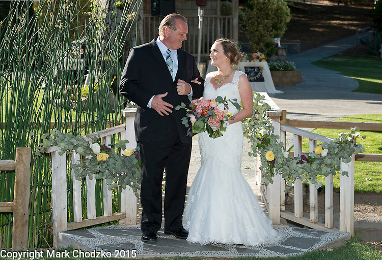 Joe Kelly and his daughter, Lauren share a look before the wedding begins at the Temecula Creek Inn.