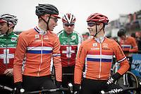 2 friendly dutchies at the start: Mathieu Van der Poel (NLD/BKCP-Corendon) & Lars Van der Haar (NLD/Giant-Alpecin)<br /> <br /> Men's Elite Race<br /> <br /> UCI 2016 cyclocross World Championships,<br /> Zolder, Belgium