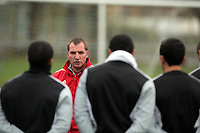 FAO SPORTS PICTURE DESK<br /> Pictured: Manager Brendan Rodgers. Thursday 12 January 2012<br /> Re: Premier League football side Swansea City FC training session at Llandarcy, south Wales.