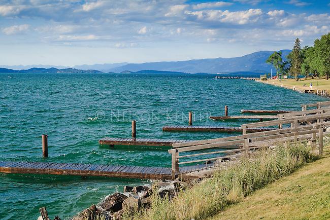 Flathead Lake shore line and docks in Polson,  Montana