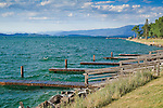 Flathead Lake shore line and docks in Polson,  Montana