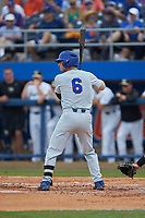 Jonathan India (6) of the Florida Gators at bat against the Wake Forest Demon Deacons in Game Two of the Gainesville Super Regional of the 2017 College World Series at Alfred McKethan Stadium at Perry Field on June 11, 2017 in Gainesville, Florida.  (Brian Westerholt/Four Seam Images)