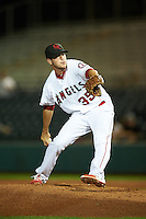 Scottsdale Scorpions pitcher Adam Hofacket (35), of the Los Angeles Angels of Anaheim organization, during a game against the Salt River Rafters on October 20, 2016 at Scottsdale Stadium in Scottsdale, Arizona.  Scottsdale defeated Salt River 4-1.  (Mike Janes/Four Seam Images)