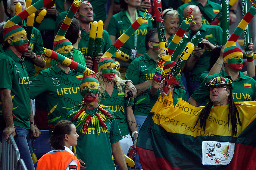 Lithuania fans during the semi-final World championship basketball match against USA in Istanbul, USA-Lithuania, Turkey on Saturday, Sep. 11, 2010. (Novak Djurovic/Starsportphoto.com) .
