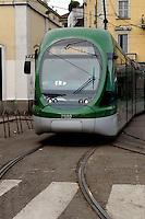 - tramway terminal in Genoa Gate station square with a  Sirio eurotram car ....- capolinea del tram in piazza della stazione di Porta Genova con una vettura Eurotram Sirio