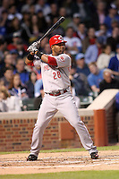 April 16, 2008:  Cincinnati Reds infielder Edwin Encarnacion (28) at bat against the Chicago Cubs at Wrigley Field in Chicago, IL. Photo by: Chris Proctor/Four Seam Images