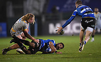 8th January 2021; Recreation Ground, Bath, Somerset, England; English Premiership Rugby, Bath versus Wasps; Taulupe Faletau offloads out of the tackle to Ruaridh McConnochie of Bath