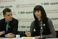Montreal (Qc) CANADA -Jan 31 2010 - suicide- Association Quebecoise de Prevention du suicide Press conference - Julie K Campbell, Presidente (L), Bruno Marchand, Directeur General (M), Alexina Bouchard (R)