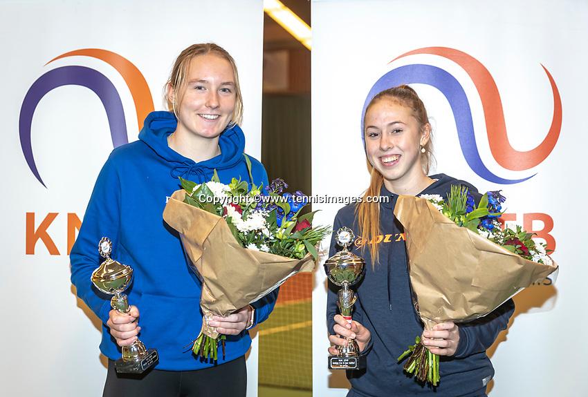 Wateringen, The Netherlands, December 15,  2019, De Rhijenhof , NOJK juniors doubles , Final girls16 years, winners Rikke de Koning (NED) and Eloise de Mooij (NED) (R) with the trophy<br /> Photo: www.tennisimages.com/Henk Koster