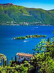 Schweiz, Tessin, Blick von Ronco sopra Ascona auf die Inseln Isole di Brissago mit Villa und Botanischem Garten im Lago Maggiore | Switzerland, Ticino, view from Ronco sopra Ascona at Isole di Brissago with Villa and Botanical Garden at Lago Maggiore