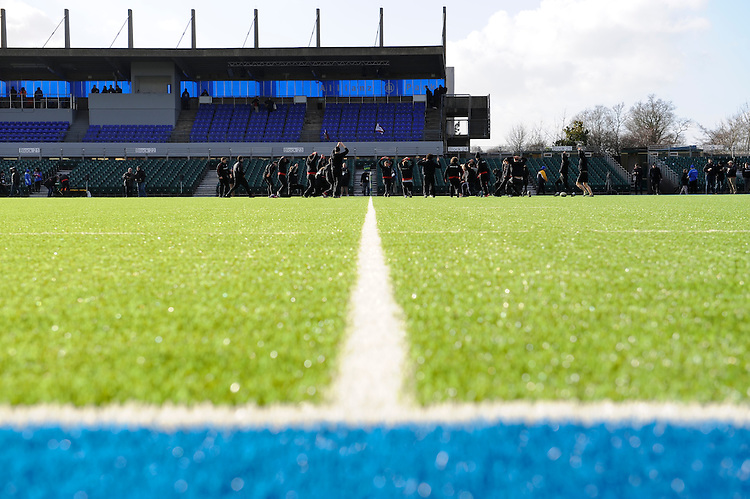 20130127 Copyright onEdition 2013©.Free for editorial use image, please credit: onEdition..Detail view of Saracens warming up on the synthetic pitch at Allianz Park during the LV= Cup match between Saracens and Cardiff Blues at Allianz Park on Sunday 27th January 2013 (Photo by Rob Munro)..For press contacts contact: Sam Feasey at brandRapport on M: +44 (0)7717 757114 E: SFeasey@brand-rapport.com..If you require a higher resolution image or you have any other onEdition photographic enquiries, please contact onEdition on 0845 900 2 900 or email info@onEdition.com.This image is copyright onEdition 2013©..This image has been supplied by onEdition and must be credited onEdition. The author is asserting his full Moral rights in relation to the publication of this image. Rights for onward transmission of any image or file is not granted or implied. Changing or deleting Copyright information is illegal as specified in the Copyright, Design and Patents Act 1988. If you are in any way unsure of your right to publish this image please contact onEdition on 0845 900 2 900 or email info@onEdition.com