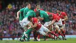 Hooker Matthew Rees hangs onto the ball as the Welsh forwards drive forward..RBS 6 Nations.Wales v Ireland.Millennium Stadium.02.02.13.©Steve Pope-SPORTINGWALES