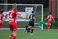 goalkeeper Ambre Collet (1) of Sporting du Pays de Charleroi pictured during a female soccer game between Sporting Charleroi and SV Zulte-Waregem on the third matchday in the 2021 - 2022 season of Belgian Scooore Womens Super League , friday 3 September 2021 in Marcinelle , Belgium . PHOTO SPORTPIX | STIJN AUDOOREN