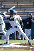 Michigan Wolverines outfielder Tito Flores (22) at bat during the NCAA baseball game against the Illinois Fighting Illini on March 20, 2021 at Fisher Stadium in Ann Arbor, Michigan. Michigan won the game 8-1. (Andrew Woolley/Four Seam Images)