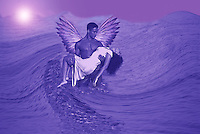 Saviour - a male angel saving a young woman and carrying her out of wavy water. Fantasy conceptual art.